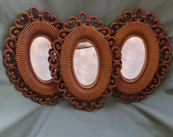 Vintage 1970's Plastic Wood Mirror Wall Decor