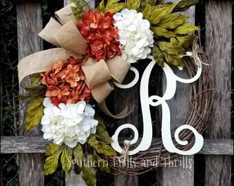 Fall Wreath, Fall Grapevine Wreath, Hydrangea Wreath, Monogram Wreath, Autumn Wreath, Thanksgiving Wreath, Front Door Wreath, Floral Wreath
