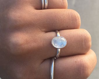 Rainbow Moonstone Stacker Ring- Sterling Silver