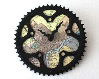 Philadelphia Map Bicycle Clock  |  Map Clock  |  Vintage Map Clock  |  Bike Gear Clock