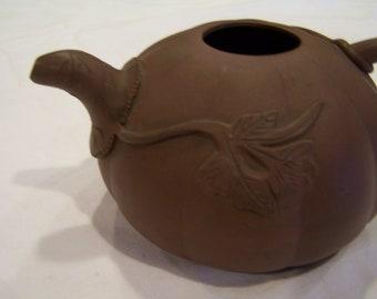Vintage pumpkin teapot, clay
