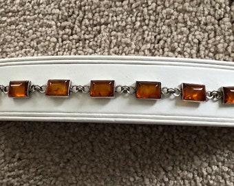 Vintage Amber and Sterling Silver Bracelet - Amber Bracelet - Amber - Mother's Day - Mom - Mother
