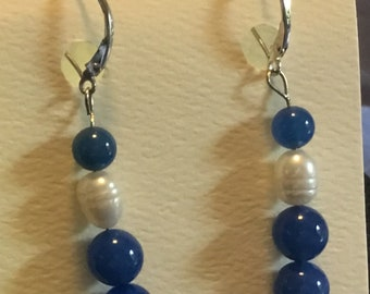 Blue onyx and cultured pearls beads on 14 karat white gold  leverback clasp.