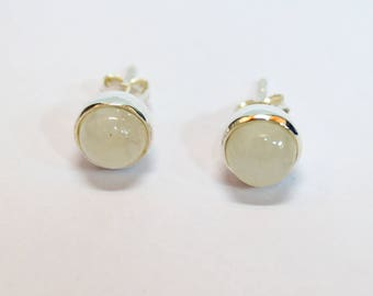 925 sterling silver earring studs pair with rainbow moonstone cabochon stone weight 2.5 grams