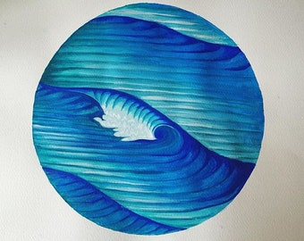 Gouche Wave Painting 'Ebb and Flow'