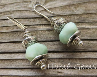 Ethnic earrings, Amazonite, blue natural stones.