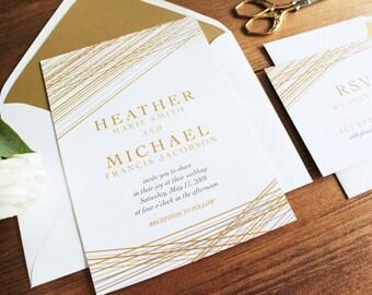 Modern Gold Wedding invitation // DIY PRINTABLE Wedding Invitations. Unique wedding invitations. Elegant wedding invitation. Wedding invite.