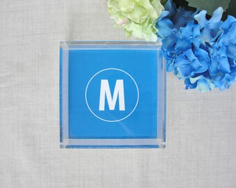 Monogram Square Lucite Tray | Personalized Acrylic Tray | Jewelry Tray | Wedding Shower Housewarming Gift | Custom Color | Desk Key Tray