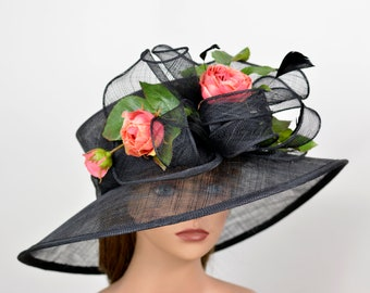 Black Derby Hat Sinamay Tea Woman Wedding Hat Church Kentucky Derby Hat Bridal Coctail Hat Couture Bridal Hat