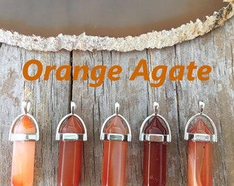 Orange Agate Crystal Necklace/ Orange Crystal Necklace/ Orange Agate/ Agate Crystal Necklace/ Orange Agate Crystal Pendant
