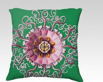 Pink Jellyfish Green Vintage Antique Haeckel Illustration Cottom Velveteen Velvet Pillow Cover Throw accent designer
