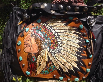 SOLD****SouthWestern Handtooled  Indian Chief/ Brave Black Leather Large Tote...contact me for your own custom Tote....