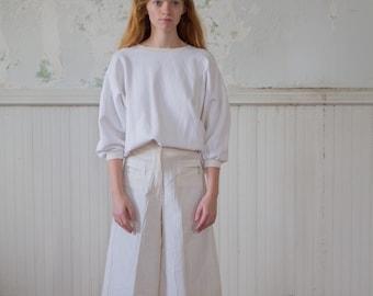 Vintage Minimalist Culottes - White Pants - 70s 1970s Small Shorts Skort Skirt Crop Pants Capris