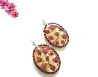 Wooden Resin Earrings/  Drop Earrings/ Flower Earrings/ Cool Earrings For Her Best Friend/ Flower Wooden Dangle Earrings/ Fashion Earrings