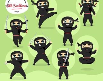 Ninja warriors clipart, ninja clip art,  vector graphics, vector clipart, digital images, vector graphics, scrapbooking supplies CL055