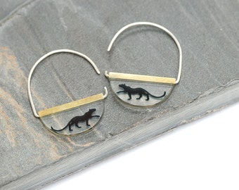 Brass and Resin Dangle Earrings featuring Bagheera the Panther