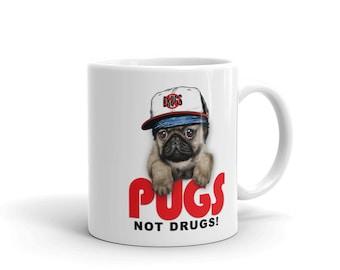 Pugs Not Drugs, Rapper Dog in Hip Hop Culture Cap - Mug