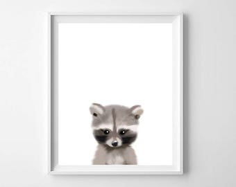 Raccoon Art Print, Printable Art, Raccoon Nursery Art, Nursery decor, Nursery Animal art, Baby animals, Nursery Prints, Kids Room Decor