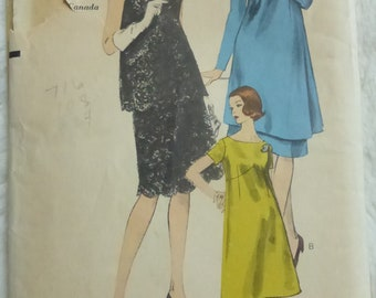 Vintage 1960s Vogue 6278 Misses Maternity Dress, Tunic, Over-blouse and Skirt Size 10