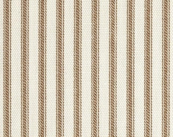 Two 26 x 26  Custom Designer Decorative Pillow Covers Euro Shams  - Vertical Ticking Stripe - Brown/Ivory