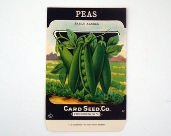 Vintage 1920s Unused Paper Seed Packet Peas