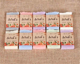 50 mini soap favors Personalized bridal shower favors Wedding soap favors Baby shower favors Rustic guest soap Thank you favor Shower favors