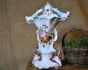 Old Paris Vase, Antique Flower Vase, porcelain, floral, Made in France,Tiny hairline,  Beautiful flowers and gold trim, #203
