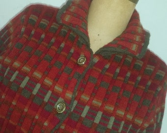 Vintage Cherry Lewis Sweater Cardigan Style Heavy Wool Knit 1990's Made in England  100% Striped Wool  Size S/M