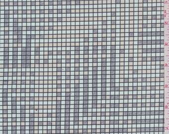 Mint/Beige/Grey Grid Print Stretch Twill, Fabric By The Yard
