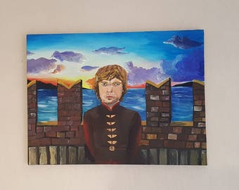 Tyrion Lannisters (Game of thrones) fanart, painted on canvas. Sunset, blue Sea and a sky full of clouds. Man on the bridge. Acrylic paint.