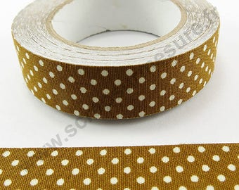 Adhesive fabric - Brown with polka dots - 15mm x 5 m
