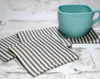 Blue & White Ticking Coasters, Set of 4