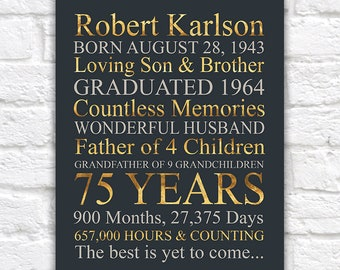 Father Birthday Gift, Birthday Sign, 75th, 75 Years Old, Gifts for Men, Him, Male, Grandpa Birthday Gift, Father in Law, Masculine | WF615