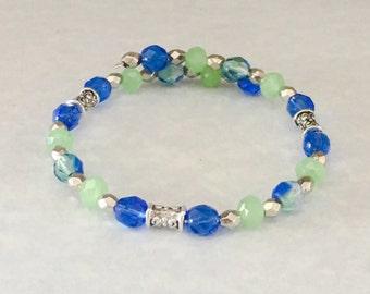 Blue bracelet, green bracelet, bracelet blue, bracelet green blue bead bracelet, green bead bracelet, memory wire bracelet
