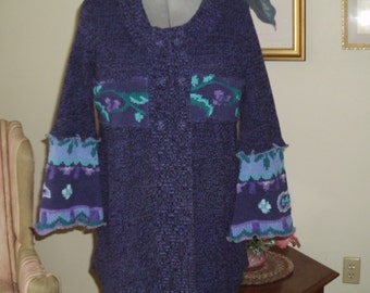 Upcycled babydoll sweater tunic, cardigan, sweater coat, recycled sweater. Size M-L. Periwinkle shades