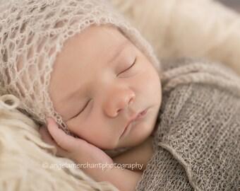 Crochet Mohair  Bonnet  Newborn Photography Props- Baby Crochet Mohair Hat