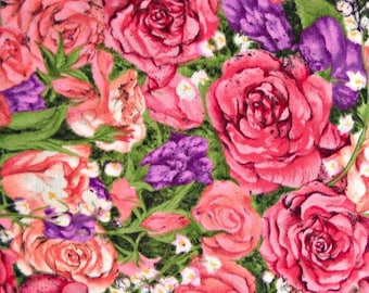 Simple Pleasures Quilt Fabric  by Anna Krajewski, for South Sea Imports, 100 Percent Cotton, Fabric by the Yard, Pink Rose Quilting Material