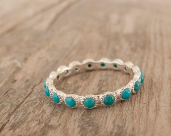 Silver Blue turquoise Ring - Eternity ring - Green stone ring - bridesmaid gift - anniversary ring - Sterling
