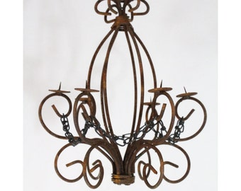Chandelier lighting etsy wrought iron candle chandelier lighting master country use indoor aloadofball Images