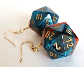 Dice Earrings - D20 Earrings Twenty Sided Dice - Teal and Red Dice Jewelry