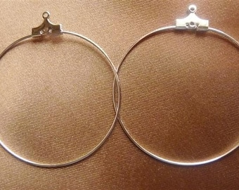 Beading hoops, Silver-Plated Brass, 40mm With Loop , Pack of 12 beading hoops.