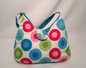 Multi Color Spots Shoulder Bag- Purse, Handbag, Teens bag, Bright bag, Small tote bag, Summer bag, Multicolor bag, 2 Delany Designs