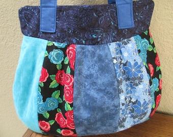 Turquoise Blue Crazy Quilt Bag