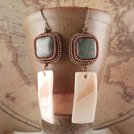 Safari Inspired Green Jade and Mother of Pearl Earrings