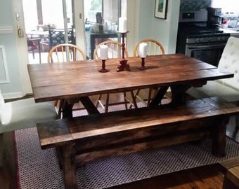 Awesome 7 Ft. Farmhouse Table And Bench Set
