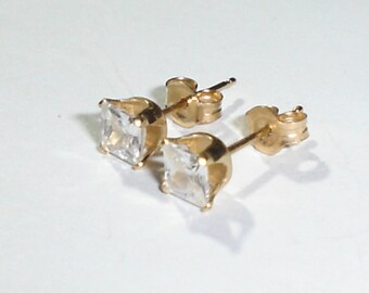 Fine 14K Yellow Gold & 4 mm Square Faceted Cubic Zirconia Post/Stud Earrings