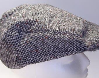 Vintage Black Tweed Newsboy Cap Size Medium 7 - 7 1/8