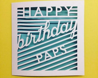 Personalised Papercut Happy birthday card