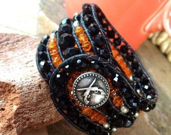 Handmade Beaded Cuff Bracelet, orange, black leather wrap style