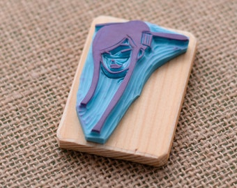 geisha hand carved rubber stamp